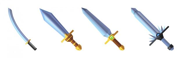 Cartoon game sword icons set
