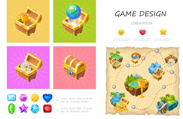 Cartoon game ui composition with cup globe skull in treasure chests colorful gemstones heart star circle buttons level design