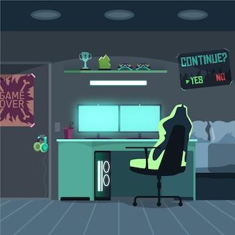Cartoon gamer room illustration