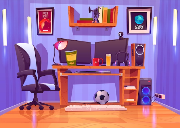 Cartoon gamer room illustration