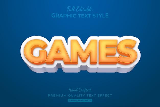 Мультяшные игры редактируемый эффект стиля 3d-текста премиум