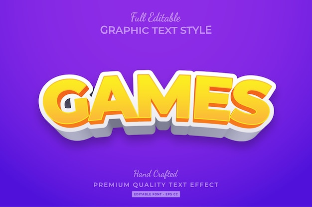 Cartoon games editable 3d text style effect