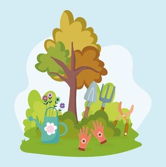 만화 정원 도구 나무