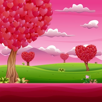 Cartoon garden with shades of pink on valentines day