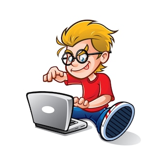 Cartoon geeky nerd kid is typing notebook enthusiastically