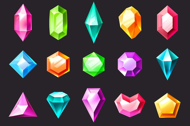 Cartoon gem. precious stones, colorful jewelry gems diamond and emerald. quartz, sapphire and amethyst, aquamarine and tourmaline vector jewels set