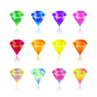 Cartoon gems and diamonds icons