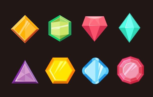 Cartoon gems jewels diamond brilliant vector set