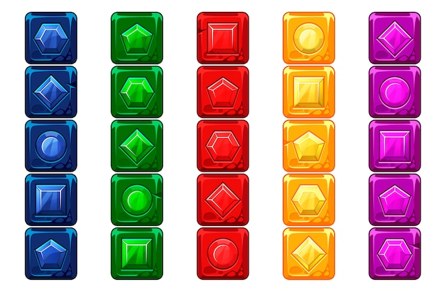 Cartoon gems, multi-colored vecor stone buttons for ui game