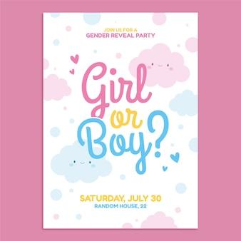 Cartoon gender reveal invitation template