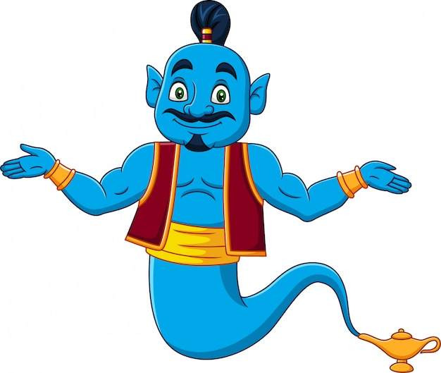 Cartoon genie appear from magic lamp