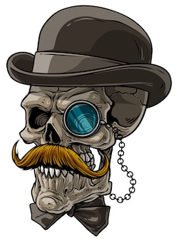 Cartoon gentleman skull with black hat and monocle