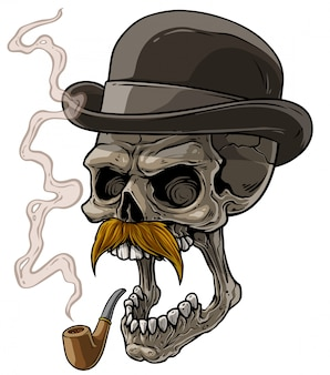Cartoon gentleman skull with black hat and pipe