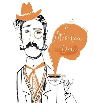 ティーカップと漫画の紳士。ベクトルアート