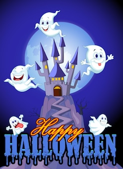 Cartoon ghost with castle and moon backkground