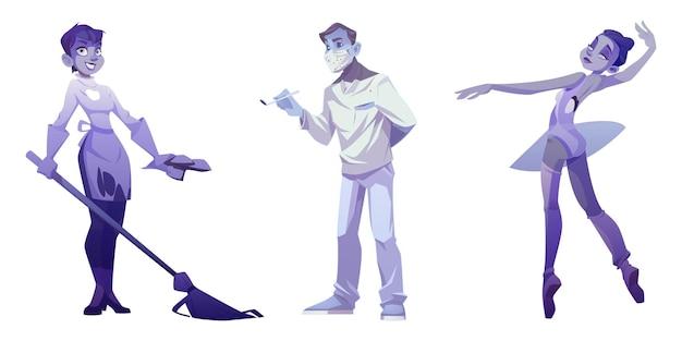 Cartoon fantasmi dentista medico con strumento e sangue sulla maschera, donna delle pulizie con scopa e ballerina che balla, personaggi morti di halloween raccapriccianti isolati su priorità bassa bianca