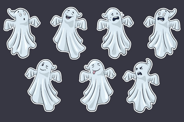 Cartoon ghosts stickers set. collection of hand drawn halloween cute spooks. premium vector