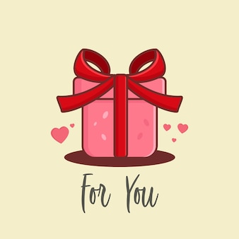Cartoon gift vector for valentine days