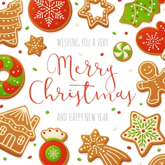 Cartoon gingerbread cookies christmas background