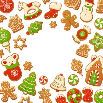 Cartoon gingerbread cookies christmas background