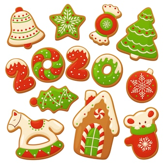 Cartoon gingerbread cookies. christmas vector elements