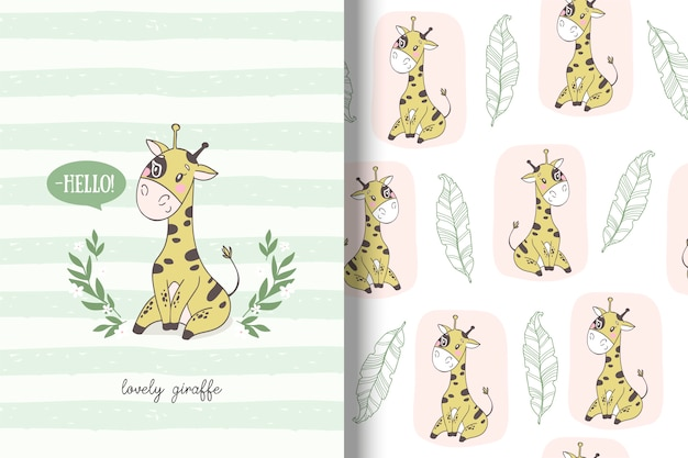 Cartoon giraffe card and seamless pattern