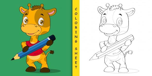 Cartoon giraffe carrying a pencil, coloring sheet