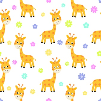 Cartoon giraffe and flower seamless pattern isolated on white background.