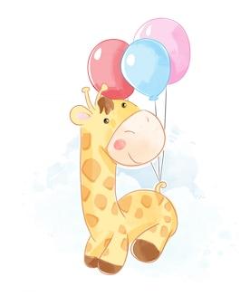 Cartoon giraffe hanging on balloons illustration