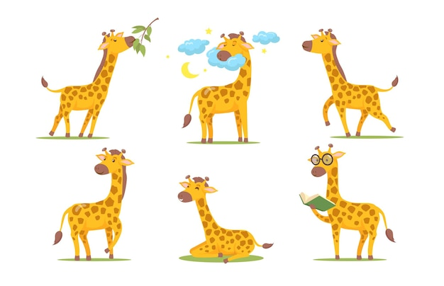 Cartoon giraffe set