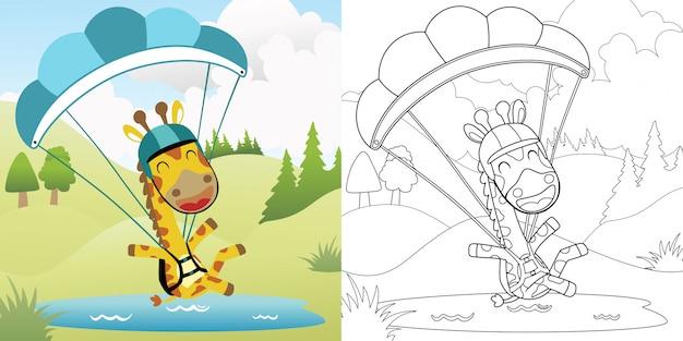 Cartoon of giraffe skydiving