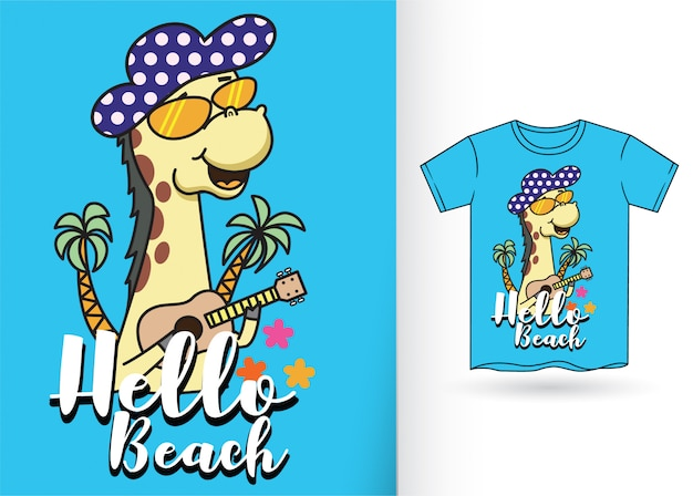 Cartoon giraffe for t shirt