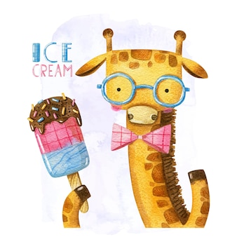 Cartoon giraffe with ice cream and bow in glasses