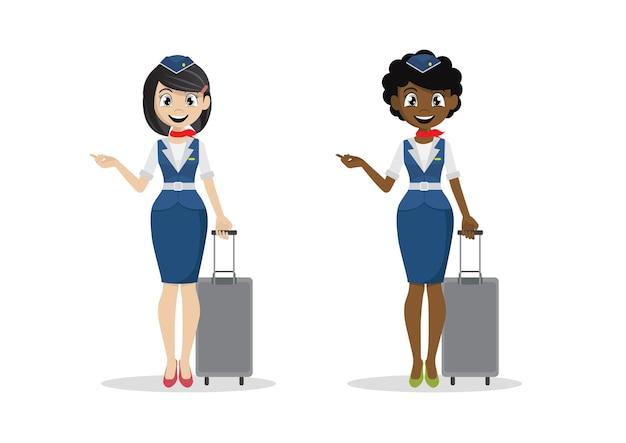 Cartoon girl air hostess.