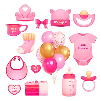 Cartoon girl birthday objects collection