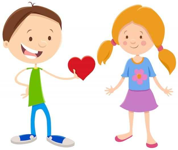 Cartoon girl and boy couple