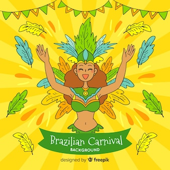 Cartoon girl brazilian carnival background