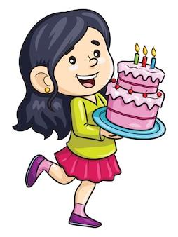 Мультяшная девушка принесла торт ко дню рождения