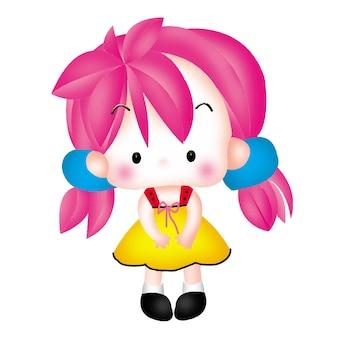 Cartoon girl character doll sweet model emotion illustration clipart drawing kawaii anime