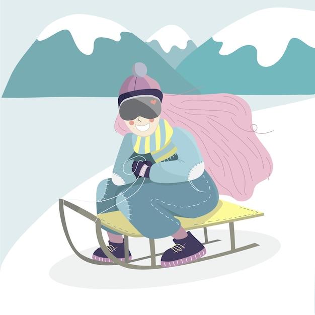 만화 소녀 캐릭터는 언덕 아래로 썰매입니다.