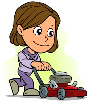 Cartoon girl character with red lawn mower