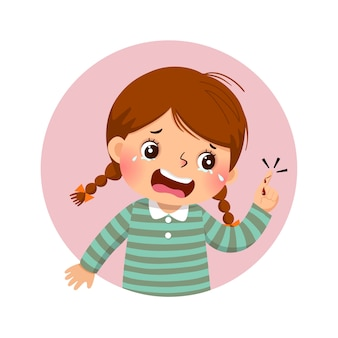 Cartoon girl crying because of bleeding blood from the cut finger wound