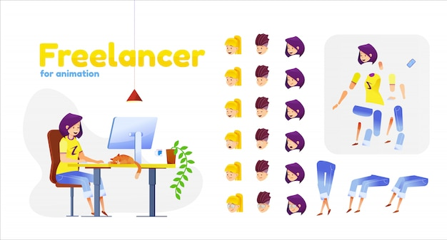 Cartoon girl freelancer animation set. young woman working from home sitting in front of monitor with cat at table at home. distant work character creation kit with face emotions, body parts