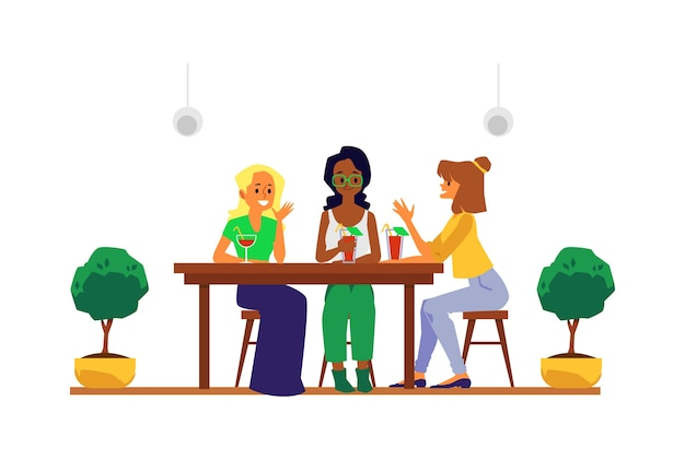 Cartoon girl friends group sitting at cafe table with cocktail drinks smiling and talking - young women drinking in restaurant.    illustration