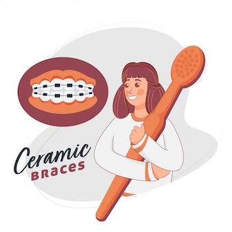 白い背景の上のセラミックブレース付き歯ブラシを保持している漫画の女の子。