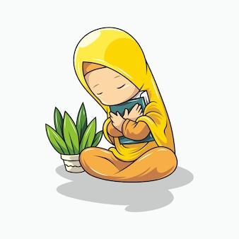 Cartoon a girl hugging the quran