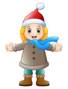 冬の服を揺らす漫画の女の子
