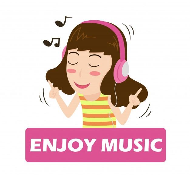 Cartoon girl listening music on headphones