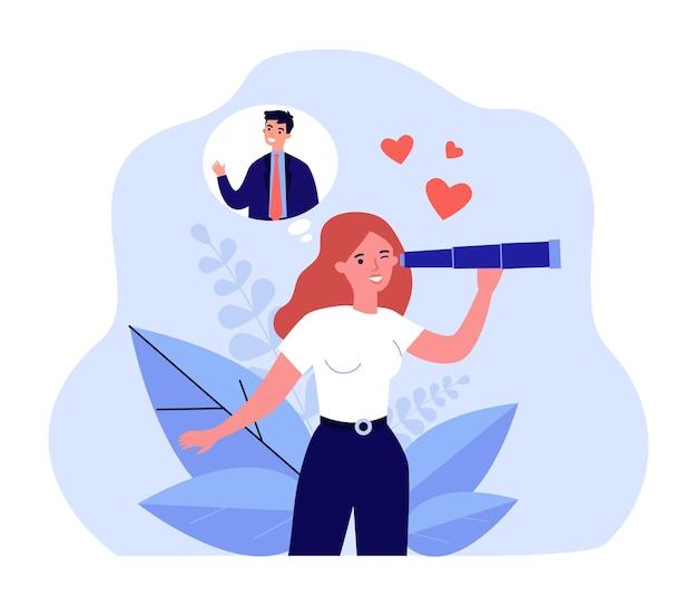 사랑 평면 벡터 일러스트 레이 션을 찾고 만화 소녀입니다. 망원경으로 남자, 남편, 관계 및 가족을 찾는 행복한 젊은 여성. 디자인 또는 방문 페이지에 대한 사랑, 검색, 관계 개념