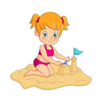Мультяшная девочка строит замки из песка на пляже